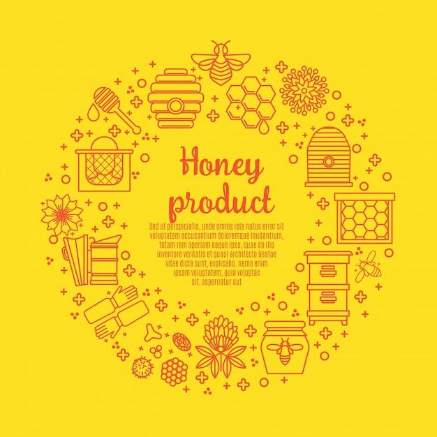 Produkt Miodowy Sunny Banner. Premium Wektorów