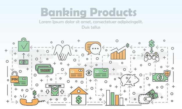 Produkty Bankowości Wektorowej Cienka Linia Ilustracji Premium Wektorów