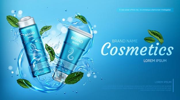 Produkty Kosmetyczne Do Pielęgnacji Włosów W Pluskach Wody Darmowych Wektorów