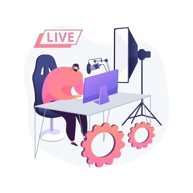 Profesjonalna Ilustracja Koncepcja Streszczenie Livestream. Profesjonalne Transmisje Wydarzeń Online, Usługi Nadawcze, Sprzęt Do Transmisji Na żywo, Oprogramowanie, Nadawanie Na żywo W Czasie Rzeczywistym Darmowych Wektorów