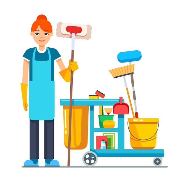 Profesjonalna kobieta czyszcząca z wózkiem wiklinowym Darmowych Wektorów