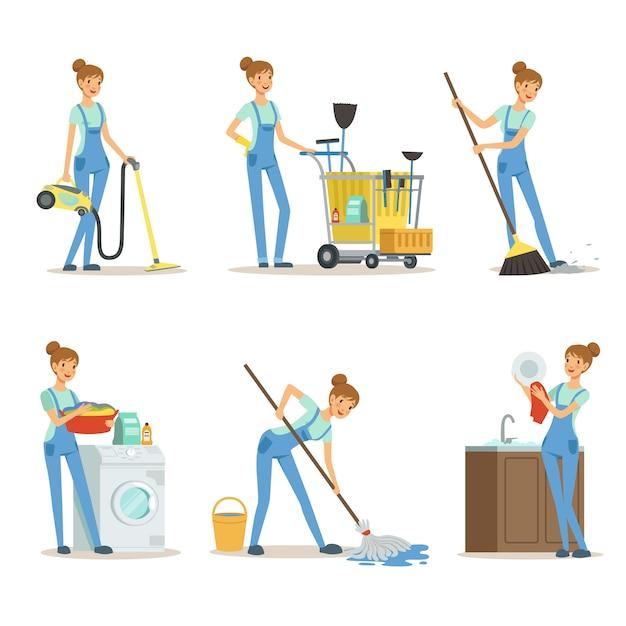 Profesjonalna Usługa Sprzątania. Kobieta Czyszczenia Zrobić Trochę Prac Domowych Premium Wektorów