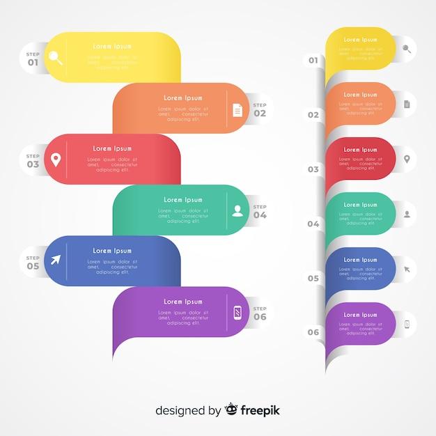 Profesjonalne kroki infographic Darmowych Wektorów