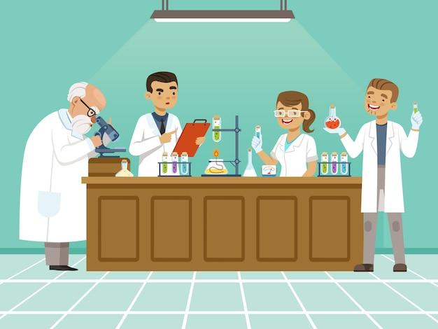 Profesjonalni Chemicy W Swoim Laboratorium Premium Wektorów