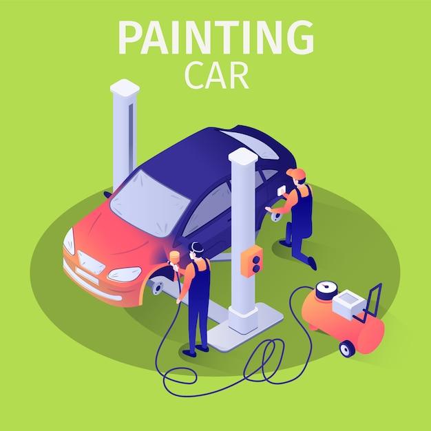 Profesjonalny airbrush malowanie samochodu z pistoletem natryskowym w baner usług samochodowych Premium Wektorów