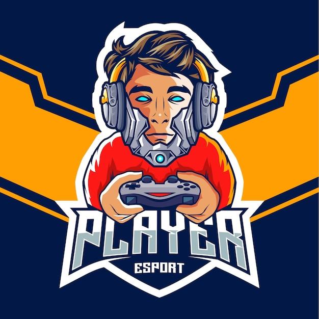 Profesjonalny Gracz E-sportowy Z Logo Głowy Robota Premium Wektorów