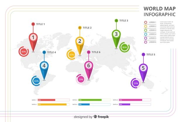 Profesjonalny infograhic z mapą świata Darmowych Wektorów