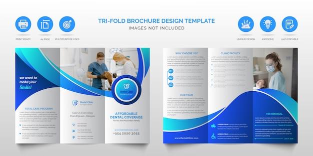 Profesjonalny Korporacyjny Nowoczesny Niebieski Uniwersalny Składanej Broszury Lub Medycznej Opieki Zdrowotnej Biznes Broszura Trifold Szablon Projektu Premium Wektorów