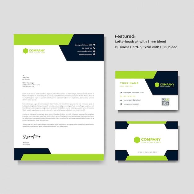 Profesjonalny Kreatywny Papier Firmowy I Wizytówki Szablon Wektor Premium Wektorów