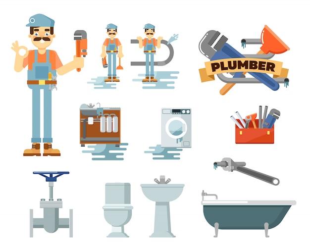 Profesjonalny zestaw naprawczy instalacji hydraulicznej Premium Wektorów