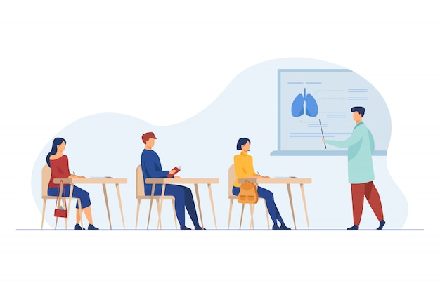Profesor Medycyny Prezentuje Publiczności Infografiki Narządów Darmowych Wektorów