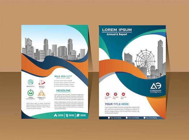 Profil firmy magazyn plakat roczny raport i okładka broszury Premium Wektorów