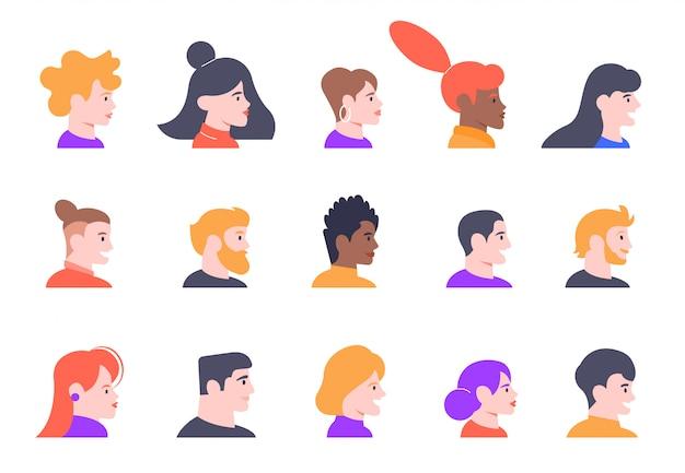 Profilowe Portrety Osób. Twarz Awatary Profili Męskich I żeńskich, Zestaw Ikon Ilustracji Widoku Profilu Młodych Ludzi. Różne Kobiety I Mężczyźni Mają Widok Z Boku Premium Wektorów