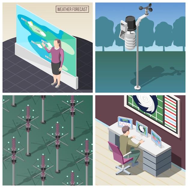 Prognozowanie Prognozy Pogody W Pracy Urządzenia Do Pomiaru Wiatru Reflektory Sygnałów Radiowych Koncepcja Izometryczna Darmowych Wektorów