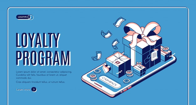 Program lojalnościowy izometryczny baner internetowy Darmowych Wektorów