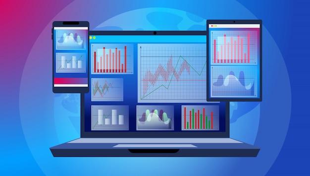 Program oprogramowania trader technology dla laptopów Premium Wektorów