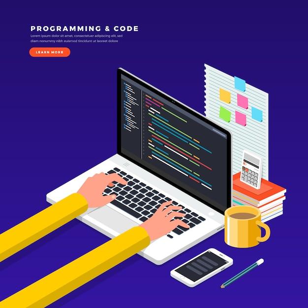 Programator I Kodowanie Koncepcji Izometrycznych. Ilustracja. Układ Strony Internetowej. Premium Wektorów