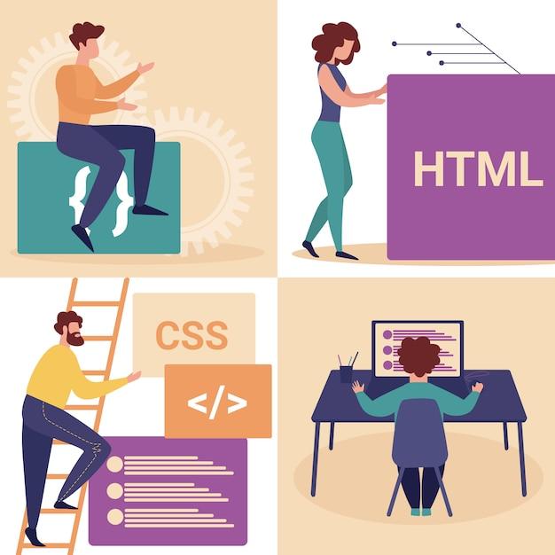 Programiści Młodych Kobiet I Mężczyzn Tworzą Witrynę Internetową Premium Wektorów