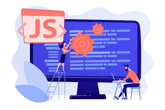 Programiści Używający Języka Programowania Javascript Na Komputerach, Malutcy Ludzie. Język Javascript, Silnik Javascript, Koncepcja Tworzenia Stron Internetowych Js Darmowych Wektorów