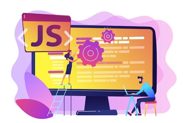 Programiści Używający Języka Programowania Javascript Na Komputerze, Malutcy Ludzie. Język Javascript, Silnik Javascript, Koncepcja Tworzenia Stron Internetowych Js. Jasny żywy Fiolet Na Białym Tle Ilustracja Darmowych Wektorów