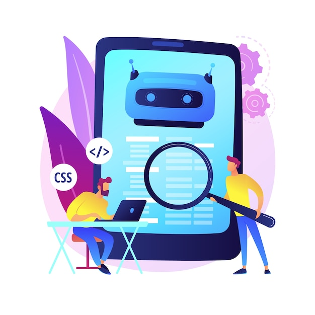 Programista Java. Oprogramowanie Na Smartfony. Kodowanie W Javascript, Pisanie Aplikacji, Programowanie Css. Manipulowanie Kodem źródłowym Html. Program Mobilny. Ilustracja Koncepcja Na Białym Tle. Darmowych Wektorów