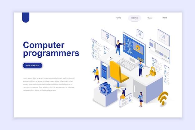 Programistów Komputerowych Nowoczesny Projekt Płaski Izometryczny Koncepcji. Premium Wektorów