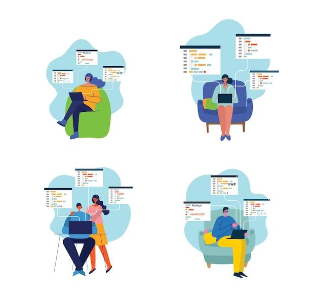 Programowanie I Kodowanie, Tworzenie Stron Internetowych, Projektowanie Stron Internetowych. Premium Wektorów