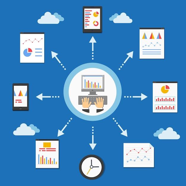 Programowanie Internetowe I Wykres Analityczny W Ilustracji Wektorowych Płaski Darmowych Wektorów