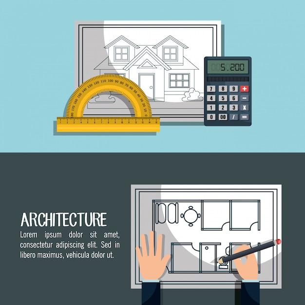 Projekt architektoniczny Darmowych Wektorów
