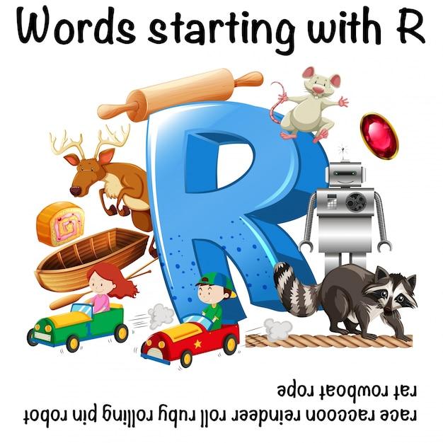 Projekt Arkusza Dla Słów Zaczynających Się Na Literę R Darmowych Wektorów