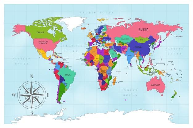 Projekt artystycznej mapy świata politycznego Darmowych Wektorów