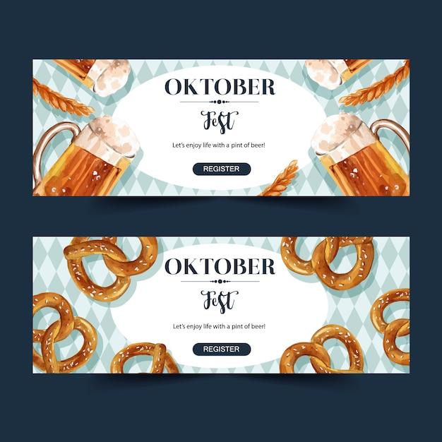 Projekt Banera Oktoberfest Z Piwem, Preclem Darmowych Wektorów