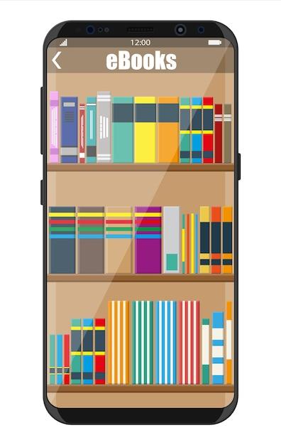 Projekt Biblioteki Ebooków Dla Smartfonów Premium Wektorów