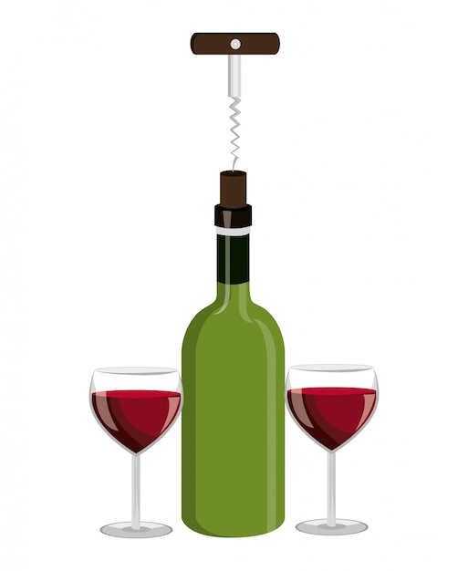 Projekt Butelki Wina. Darmowych Wektorów