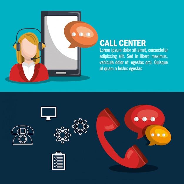 Projekt call center Darmowych Wektorów