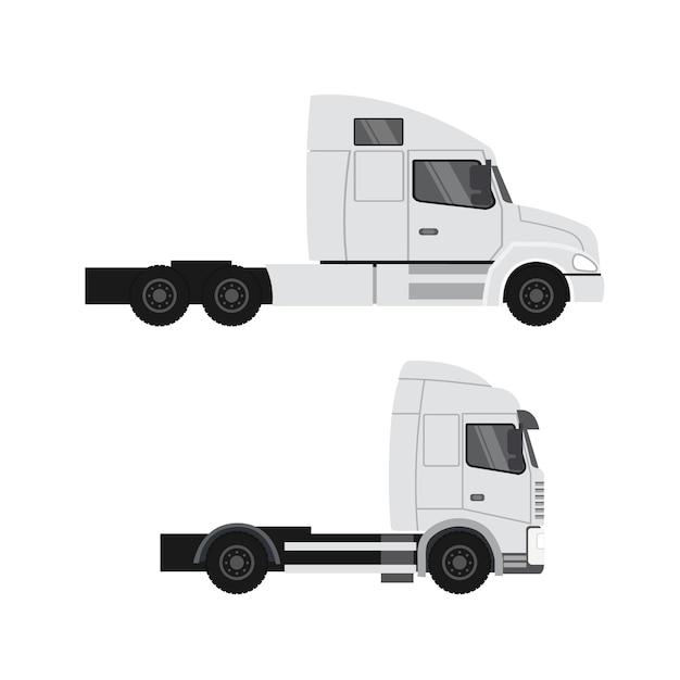 Projekt Ciężarówki Cargo. Przyczepa Do Transportu Ciężkiego Premium Wektorów