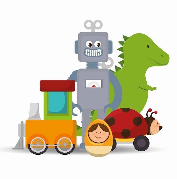 Projekt cute zabawek Premium Wektorów