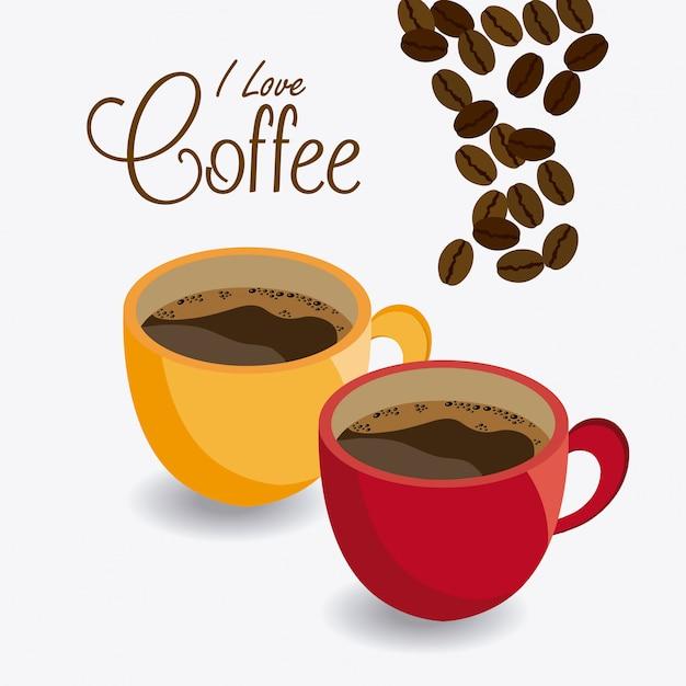 Projekt Czasu Kawy. Premium Wektorów