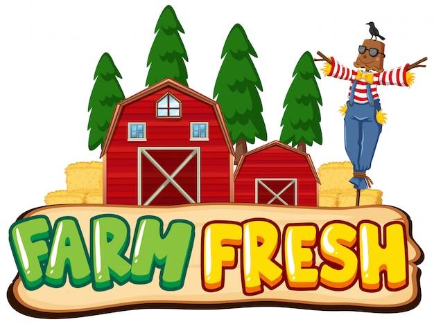 Projekt Czcionki Dla Farmy Słów świeżych Ze Stracha Na Wróble I Czerwonych Stodół Darmowych Wektorów