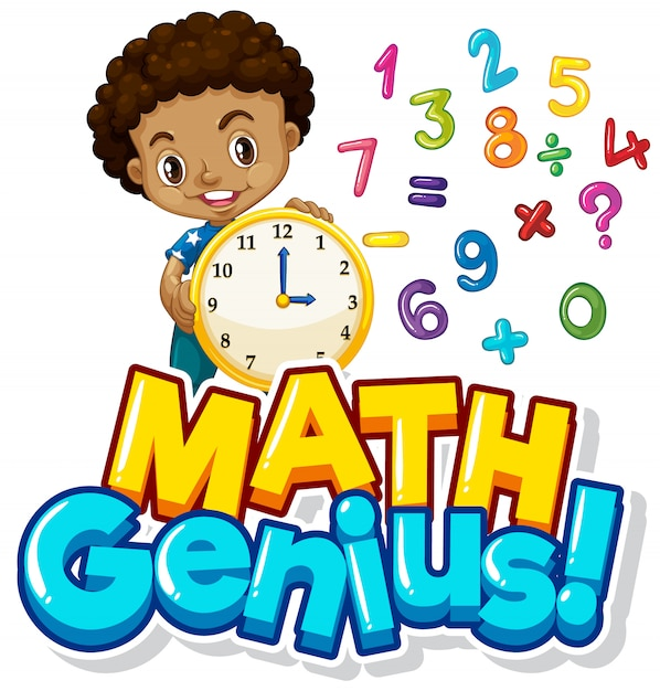 Projekt Czcionki Dla Geniuszu Matematyki Z Chłopcem I Liczbami Darmowych Wektorów