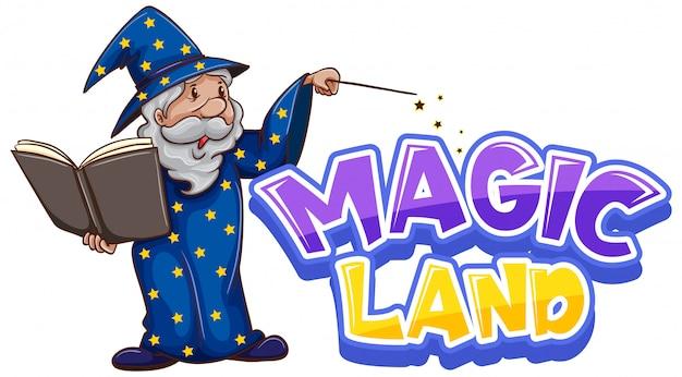 Projekt Czcionki Dla Magicznej Krainy Słów Ze Starym Czarodziejem Darmowych Wektorów