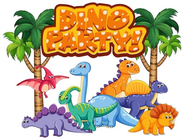 Projekt Czcionki Dla Programu Word Dino Party Z Wieloma Dinozaurami Darmowych Wektorów