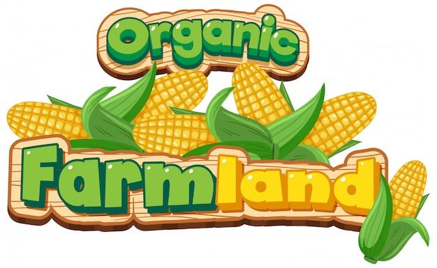 Projekt Czcionki Dla Słowa Ekologicznej Ziemi Uprawnej Ze Słodką Kukurydzą Darmowych Wektorów