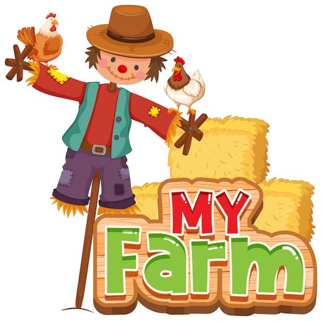 Projekt Czcionki Dla Słowa Moja Farma Z Kurczętami I Strach Na Wróble Darmowych Wektorów