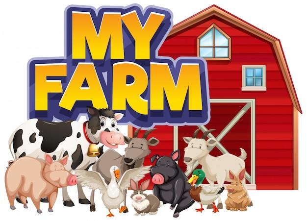 Projekt Czcionki Dla Słowa Moja Farma Z Wieloma Zwierzętami Hodowlanymi Darmowych Wektorów