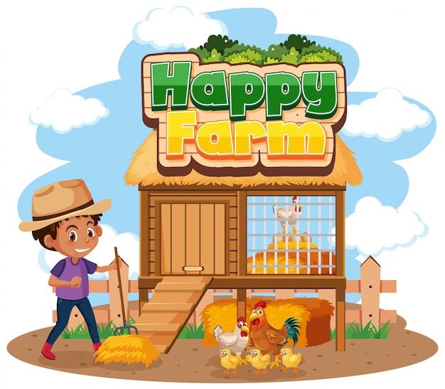 Projekt Czcionki Dla Szczęśliwego Gospodarstwa Z Rolnikiem I Kurczętami Premium Wektorów