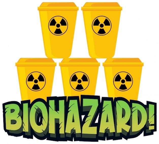 Projekt Czcionki Dla Zagrożenia Biologicznego Z żółtymi Koszami Na śmieci Darmowych Wektorów