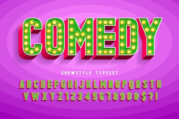 Projekt Czcionki Kina Retro, Kabaret, Litery I Cyfry Lamp. Kontrola Koloru Próbek Premium Wektorów
