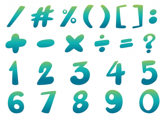 Projekt czcionki liczb i znaków na niebiesko Darmowych Wektorów