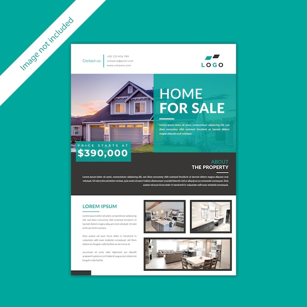 Projekt Domu Na Sprzedaż Nieruchomości Ulotki Premium Wektorów